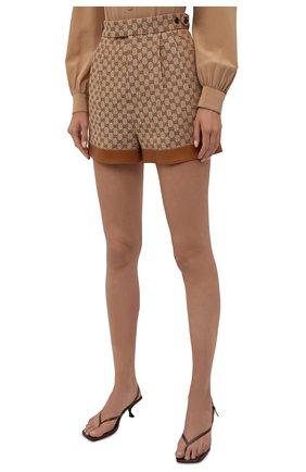 Женские шорты GUCCI бежевого цвета, арт. 661565/Z8A0A   Фото 3 (Женское Кросс-КТ: Шорты-одежда; Стили: Гламурный; Длина Ж (юбки, платья, шорты): Мини; Материал внешний: Синтетический материал, Лен)