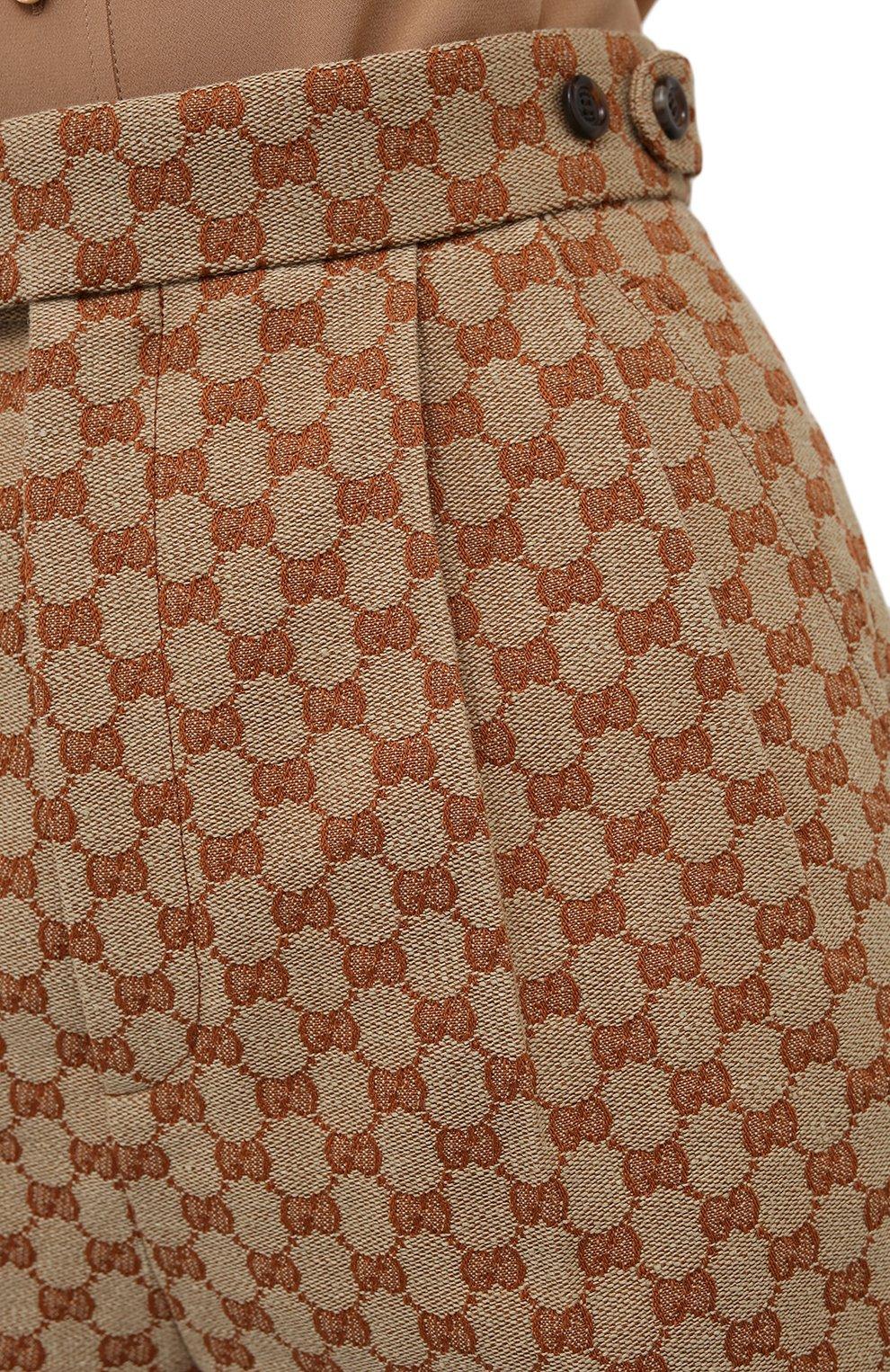Женские шорты GUCCI бежевого цвета, арт. 661565/Z8A0A   Фото 5 (Женское Кросс-КТ: Шорты-одежда; Стили: Гламурный; Длина Ж (юбки, платья, шорты): Мини; Материал внешний: Синтетический материал, Лен)