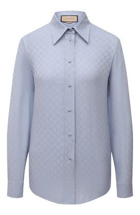 Женская шелковая рубашка GUCCI синего цвета, арт. 661738/ZAAZQ   Фото 1