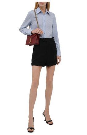 Женская шелковая рубашка GUCCI синего цвета, арт. 661738/ZAAZQ   Фото 2