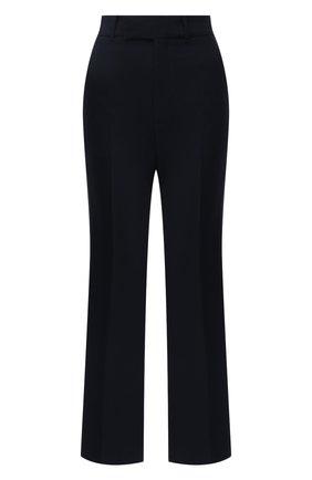Женские брюки из шелка и шерсти GUCCI синего цвета, арт. 661739/ZAD88 | Фото 1 (Материал внешний: Шелк, Шерсть; Длина (брюки, джинсы): Стандартные; Силуэт Ж (брюки и джинсы): Расклешенные; Женское Кросс-КТ: Брюки-одежда; Стили: Гламурный)