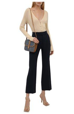 Женские брюки из шелка и шерсти GUCCI синего цвета, арт. 661739/ZAD88 | Фото 2 (Материал внешний: Шелк, Шерсть; Длина (брюки, джинсы): Стандартные; Силуэт Ж (брюки и джинсы): Расклешенные; Женское Кросс-КТ: Брюки-одежда; Стили: Гламурный)