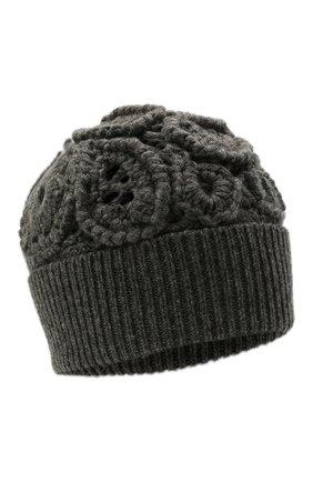 Женская кашемировая шапка BRUNELLO CUCINELLI темно-серого цвета, арт. M52608489   Фото 1 (Материал: Шерсть, Кашемир)