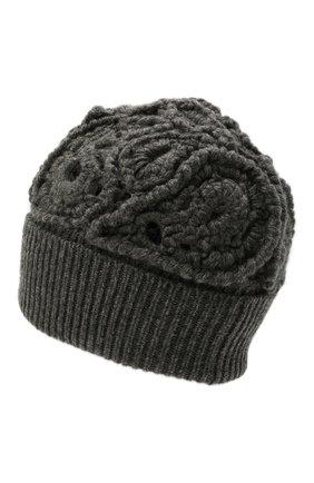 Женская кашемировая шапка BRUNELLO CUCINELLI темно-серого цвета, арт. M52608489   Фото 2 (Материал: Шерсть, Кашемир)