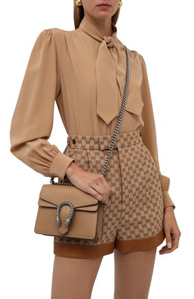 Женская сумка dionysus mini GUCCI бежевого цвета, арт. 421970/CA0GN   Фото 2 (Материал: Натуральная кожа; Сумки-технические: Сумки через плечо; Ремень/цепочка: С цепочкой, На ремешке; Размер: mini)