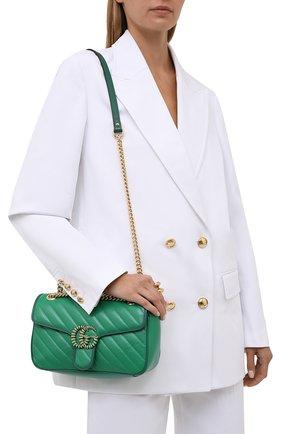 Женская сумка gg marmont 2.0 GUCCI зеленого цвета, арт. 443497/1X5EG   Фото 2
