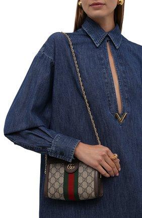 Женская сумка ophidia GUCCI бежевого цвета, арт. 602676/K05NB   Фото 2 (Материал: Экокожа, Текстиль; Сумки-технические: Сумки через плечо; Ремень/цепочка: На ремешке; Размер: mini)