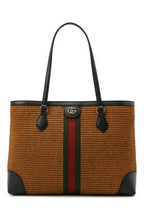 Женский сумка-шопер ophidia GUCCI коричневого цвета, арт. 631685/2SXFG   Фото 1 (Сумки-технические: Сумки-шопперы; Размер: medium; Ошибки технического описания: Нет ширины; Материал: Текстиль)