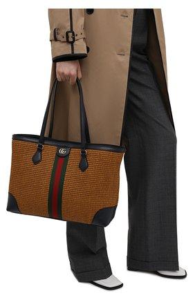 Женский сумка-шопер ophidia GUCCI коричневого цвета, арт. 631685/2SXFG   Фото 2 (Сумки-технические: Сумки-шопперы; Размер: medium; Ошибки технического описания: Нет ширины; Материал: Текстиль)