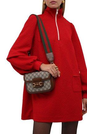Женская сумка gg 1955 horsebit GUCCI коричневого цвета, арт. 658574/HUHHG | Фото 2 (Материал: Экокожа, Текстиль; Сумки-технические: Сумки через плечо; Размер: mini; Ремень/цепочка: На ремешке)