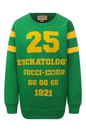 Женский хлопковый свитшот GUCCI зеленого цвета, арт. 662081/XJDJD | Фото 1 (Материал внешний: Хлопок; Длина (для топов): Стандартные; Рукава: Длинные; Женское Кросс-КТ: Свитшот-одежда; Стили: Спорт-шик)