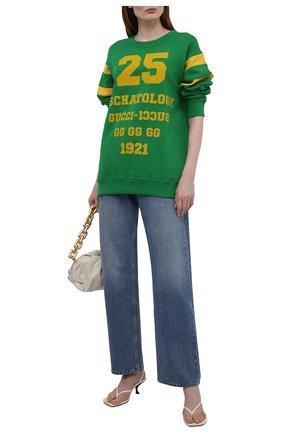 Женский хлопковый свитшот GUCCI зеленого цвета, арт. 662081/XJDJD | Фото 2 (Материал внешний: Хлопок; Длина (для топов): Стандартные; Рукава: Длинные; Женское Кросс-КТ: Свитшот-одежда; Стили: Спорт-шик)