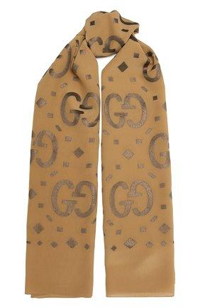 Женский шелковый шарф GUCCI коричневого цвета, арт. 661568/3GA26 | Фото 1