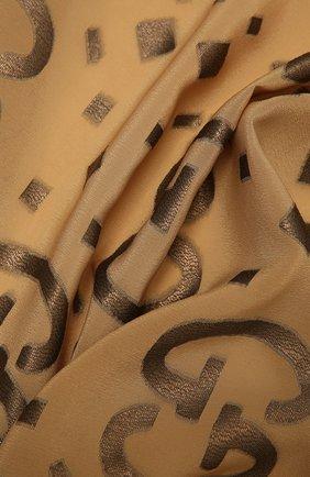 Женский шелковый шарф GUCCI коричневого цвета, арт. 661568/3GA26 | Фото 2