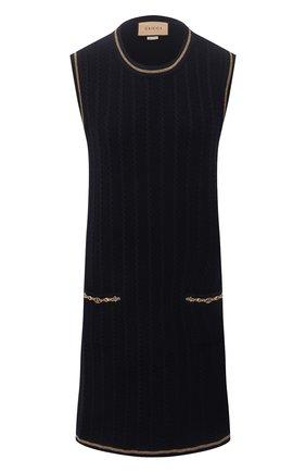 Женское платье из шерсти и хлопка GUCCI синего цвета, арт. 658350/XKBV0 | Фото 1 (Материал внешний: Шерсть, Хлопок; Случай: Повседневный; Кросс-КТ: Трикотаж; Длина Ж (юбки, платья, шорты): Мини; Женское Кросс-КТ: Платье-одежда; Стили: Гламурный)