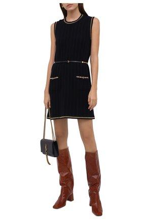 Женское платье из шерсти и хлопка GUCCI синего цвета, арт. 658350/XKBV0 | Фото 2 (Материал внешний: Шерсть, Хлопок; Случай: Повседневный; Кросс-КТ: Трикотаж; Длина Ж (юбки, платья, шорты): Мини; Женское Кросс-КТ: Платье-одежда; Стили: Гламурный)