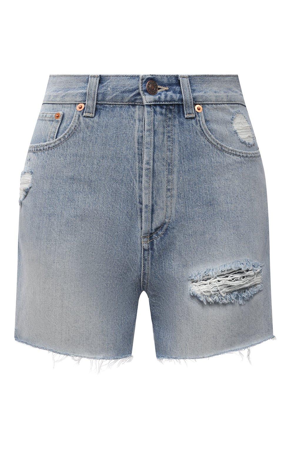 Женские джинсовые шорты GUCCI синего цвета, арт. 638061/XDBPH | Фото 1 (Женское Кросс-КТ: Шорты-одежда; Кросс-КТ: Деним; Длина Ж (юбки, платья, шорты): Мини; Материал внешний: Хлопок; Стили: Спорт-шик)