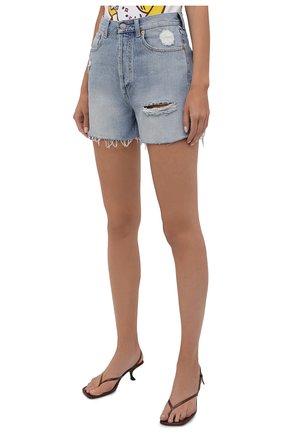 Женские джинсовые шорты GUCCI синего цвета, арт. 638061/XDBPH | Фото 3 (Женское Кросс-КТ: Шорты-одежда; Кросс-КТ: Деним; Длина Ж (юбки, платья, шорты): Мини; Материал внешний: Хлопок; Стили: Спорт-шик)