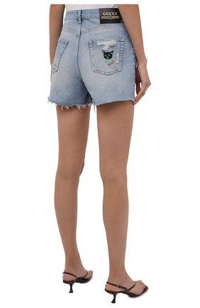 Женские джинсовые шорты GUCCI синего цвета, арт. 638061/XDBPH | Фото 4 (Женское Кросс-КТ: Шорты-одежда; Кросс-КТ: Деним; Длина Ж (юбки, платья, шорты): Мини; Материал внешний: Хлопок; Стили: Спорт-шик)