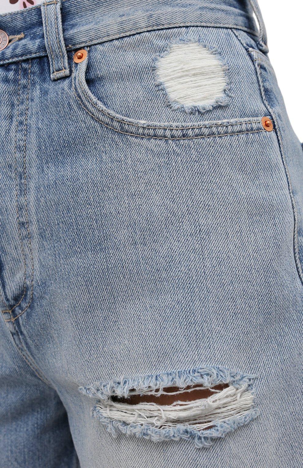 Женские джинсовые шорты GUCCI синего цвета, арт. 638061/XDBPH | Фото 5 (Женское Кросс-КТ: Шорты-одежда; Кросс-КТ: Деним; Длина Ж (юбки, платья, шорты): Мини; Материал внешний: Хлопок; Стили: Спорт-шик)