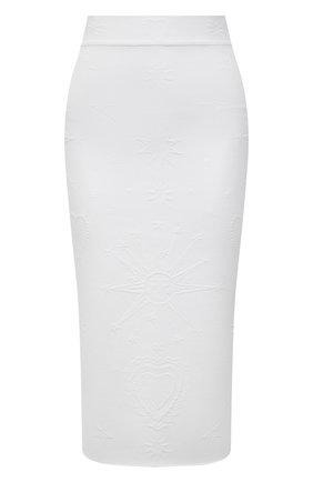 Женская юбка из вискозы ALEXANDER MCQUEEN белого цвета, арт. 667773/Q1AVB | Фото 1