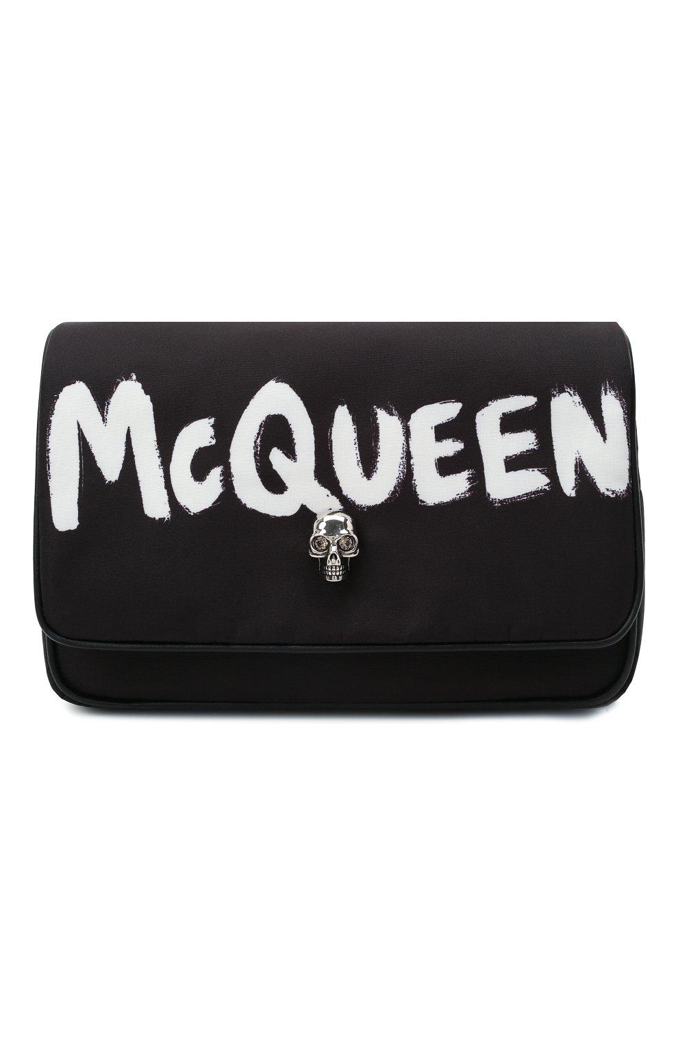 Женская сумка skull ALEXANDER MCQUEEN черного цвета, арт. 666120/16XAB | Фото 1 (Сумки-технические: Сумки через плечо; Размер: mini; Ремень/цепочка: На ремешке; Материал: Текстиль)