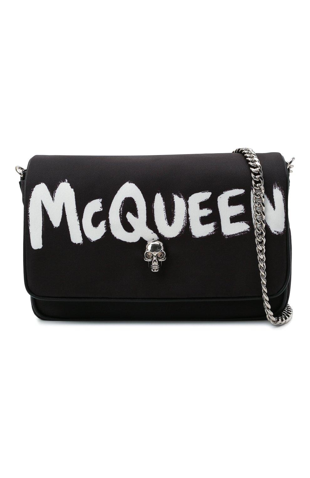 Женская сумка skull ALEXANDER MCQUEEN черного цвета, арт. 666120/16XAB | Фото 5 (Сумки-технические: Сумки через плечо; Размер: mini; Ремень/цепочка: На ремешке; Материал: Текстиль)