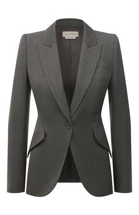Женский шерстяной жакет ALEXANDER MCQUEEN серого цвета, арт. 585442/QJACH | Фото 1