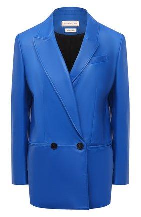 Женский кожаный жакет ALEXANDER MCQUEEN синего цвета, арт. 668435/Q5AGG | Фото 1
