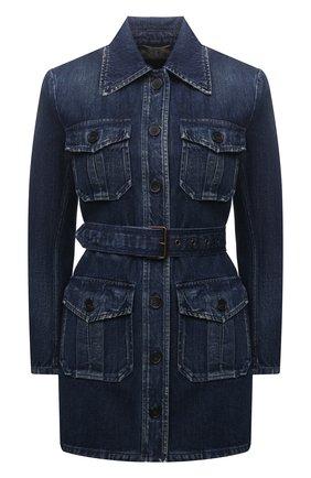 Женская джинсовая куртка SAINT LAURENT темно-синего цвета, арт. 659619/Y30AD | Фото 1 (Материал внешний: Хлопок; Кросс-КТ: Куртка, Деним; Рукава: Длинные; Стили: Гламурный; Длина (верхняя одежда): До середины бедра)