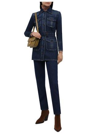 Женская джинсовая куртка SAINT LAURENT темно-синего цвета, арт. 659619/Y30AD | Фото 2 (Материал внешний: Хлопок; Кросс-КТ: Куртка, Деним; Рукава: Длинные; Стили: Гламурный; Длина (верхняя одежда): До середины бедра)