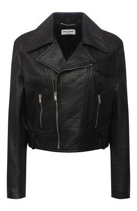 Женская кожаная куртка SAINT LAURENT черного цвета, арт. 653138/YCEN2 | Фото 1