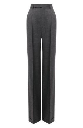 Женские шерстяные брюки SAINT LAURENT темно-серого цвета, арт. 646856/Y7C20 | Фото 1 (Материал внешний: Шерсть; Длина (брюки, джинсы): Удлиненные; Силуэт Ж (брюки и джинсы): Широкие; Женское Кросс-КТ: Брюки-одежда; Стили: Гламурный)