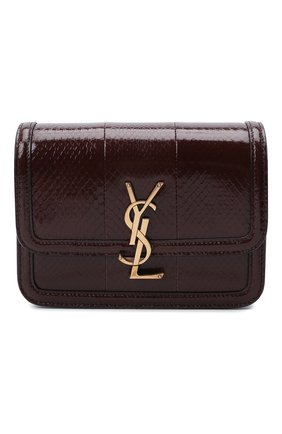 Женская сумка solferino ysl lock SAINT LAURENT темно-коричневого цвета, арт. 634306/L3R0W | Фото 1 (Материал: Натуральная кожа; Сумки-технические: Сумки через плечо; Размер: mini; Ремень/цепочка: На ремешке)