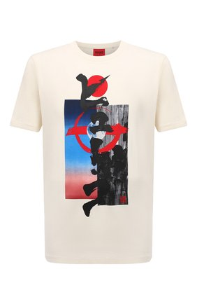 Мужская хлопковая футболка HUGO кремвого цвета, арт. 50448940 | Фото 1