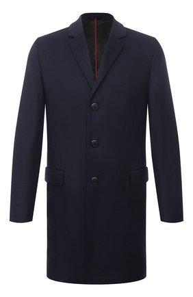 Мужской пальто из шерсти и кашемира HUGO темно-синего цвета, арт. 50456693 | Фото 1