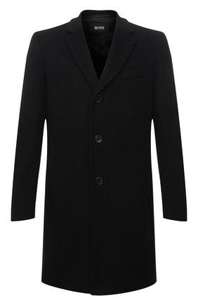 Мужской пальто из шерсти и кашемира BOSS черного цвета, арт. 50459022 | Фото 1 (Материал внешний: Шерсть; Рукава: Длинные; Стили: Классический; Мужское Кросс-КТ: пальто-верхняя одежда; Длина (верхняя одежда): До середины бедра)