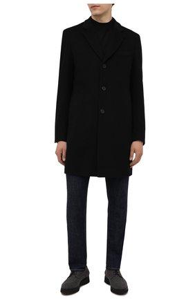 Мужской пальто из шерсти и кашемира BOSS черного цвета, арт. 50459022 | Фото 2 (Материал внешний: Шерсть; Рукава: Длинные; Стили: Классический; Мужское Кросс-КТ: пальто-верхняя одежда; Длина (верхняя одежда): До середины бедра)