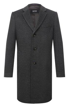 Мужской пальто из шерсти и кашемира BOSS серого цвета, арт. 50459022 | Фото 1 (Рукава: Длинные; Материал внешний: Шерсть; Стили: Классический; Мужское Кросс-КТ: пальто-верхняя одежда; Длина (верхняя одежда): До середины бедра)
