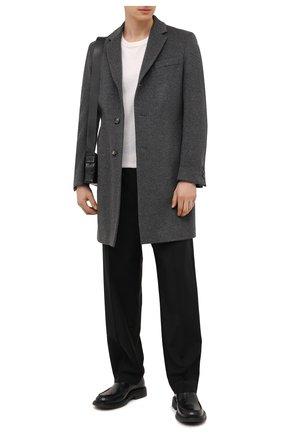 Мужской пальто из шерсти и кашемира BOSS серого цвета, арт. 50459022 | Фото 2 (Рукава: Длинные; Материал внешний: Шерсть; Стили: Классический; Мужское Кросс-КТ: пальто-верхняя одежда; Длина (верхняя одежда): До середины бедра)