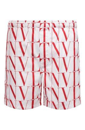 Мужские плавки-шорты VALENTINO белого цвета, арт. WV3UH0286G0 | Фото 1 (Материал внешний: Синтетический материал; Мужское Кросс-КТ: плавки-шорты; Принт: С принтом)