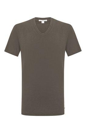Мужская хлопковая футболка JAMES PERSE хаки цвета, арт. MLJ3352 | Фото 1