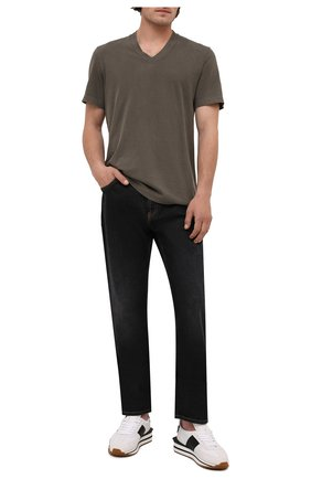 Мужская хлопковая футболка JAMES PERSE хаки цвета, арт. MLJ3352 | Фото 2