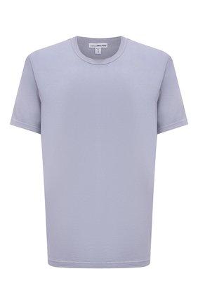 Мужская хлопковая футболка JAMES PERSE голубого цвета, арт. MLJ3311 | Фото 1 (Материал внешний: Хлопок; Принт: Без принта; Длина (для топов): Стандартные; Стили: Кэжуэл; Рукава: Короткие)