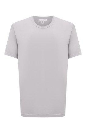 Мужская хлопковая футболка JAMES PERSE светло-серого цвета, арт. MLJ3311 | Фото 1 (Материал внешний: Хлопок; Принт: Без принта; Длина (для топов): Стандартные; Стили: Кэжуэл; Рукава: Короткие)