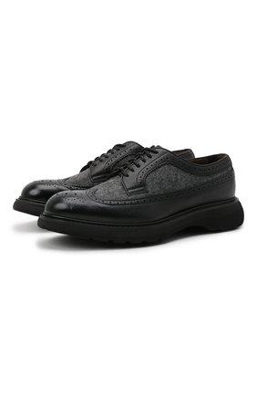 Мужские комбинированные дерби DOUCAL'S черного цвета, арт. DU2523ST0CPT2082N00 | Фото 1 (Материал внутренний: Натуральная кожа, Текстиль; Материал внешний: Текстиль; Стили: Классический; Мужское Кросс-КТ: Броги-обувь)