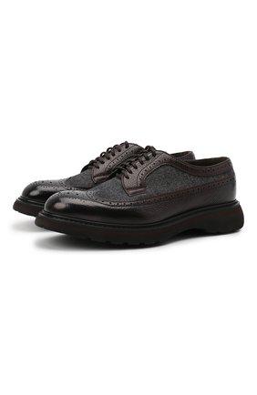 Мужские комбинированные дерби DOUCAL'S темно-коричневого цвета, арт. DU2523ST0CPT208TM15 | Фото 1 (Материал внутренний: Натуральная кожа, Текстиль; Мужское Кросс-КТ: Броги-обувь; Материал внешний: Текстиль; Стили: Классический)