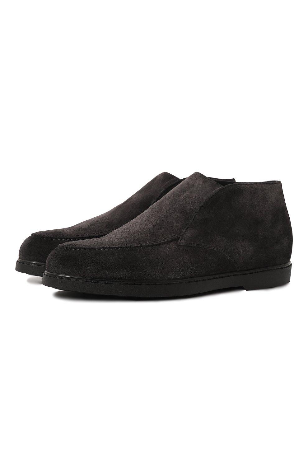 Мужские замшевые ботинки DOUCAL'S темно-серого цвета, арт. DU2654ED0-UM024NN05 | Фото 1 (Материал утеплителя: Натуральный мех; Мужское Кросс-КТ: Ботинки-обувь, зимние ботинки; Подошва: Плоская; Материал внешний: Замша)