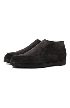 Мужские замшевые ботинки DOUCAL'S темно-серого цвета, арт. DU2654ED0-UM024NN05 | Фото 1 (Подошва: Плоская; Мужское Кросс-КТ: Ботинки-обувь, зимние ботинки; Материал внешний: Замша; Материал утеплителя: Натуральный мех)
