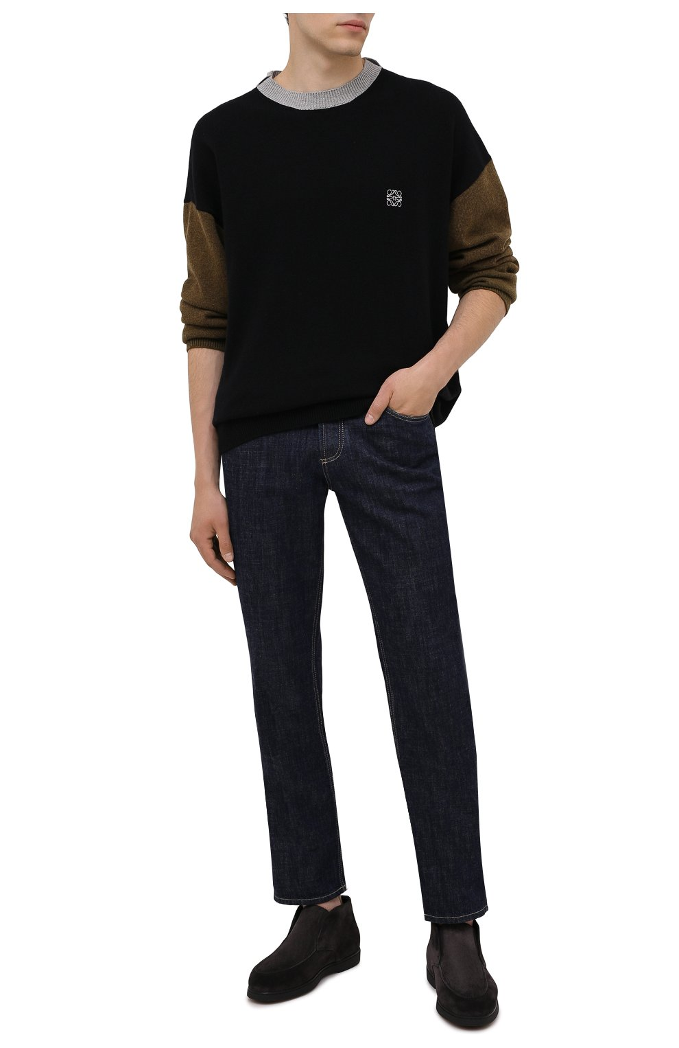 Мужские замшевые ботинки DOUCAL'S темно-серого цвета, арт. DU2654ED0-UM024NN05 | Фото 2 (Материал утеплителя: Натуральный мех; Мужское Кросс-КТ: Ботинки-обувь, зимние ботинки; Подошва: Плоская; Материал внешний: Замша)
